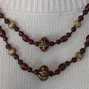 Vintage brown glass bead necklace